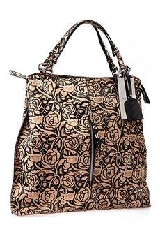 GAWOR - Skórzana torebka worek brąz kwiaty