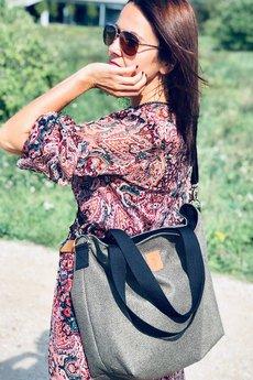 Militu - Duża torba szoperka Mili Duo Braid MDb2 - burgund