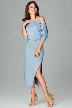 LENITIF - Sukienka K479 Niebieski