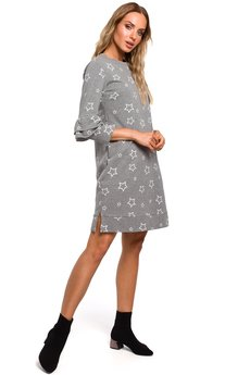MOE - M445 Sukienka z falbanami przy rękawach