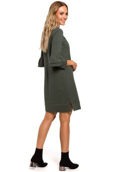 MOE - M446 Gładka sukienka z falbankami przy rękawach