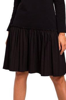 MOE - M448 Sukienka z plisowaną falbanką