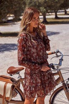 MOE - M453 Szyfonowa sukienka w kwiaty
