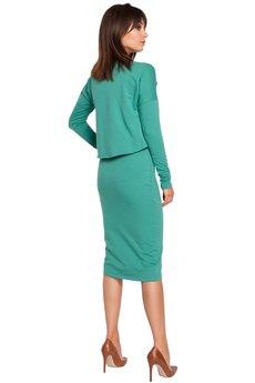 Be - B001 Elastyczna ołówkowa sukienka midi