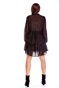 Bird - tiulowa sukienka z falbaną i wiązaniem w pasie