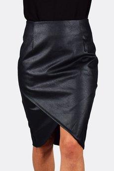 collibri - 36 - 50 _ kopertowa spódnica eko skóra czarna