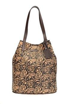 GAWOR - Skórzana brązowa torebka worek wzór kwiaty