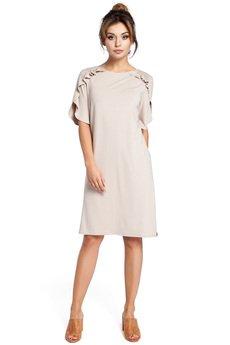 Be - B035 Elegancka sukienka midi z falbankami