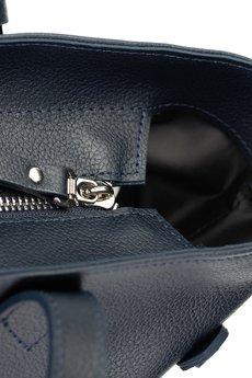 GAWOR - Skórzana granatowa torebka worek na zamek
