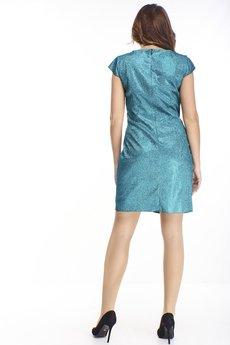 Bird - brokatowa sukienka z marszczeniem w pasie