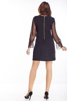 Bird - cekinowa sukienka z tiulowymi rękawami
