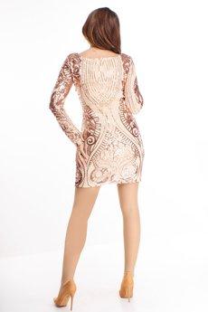 Bird - cekinowa sukienka z długim rękawem