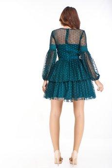 Bird - tiulowa sukienka z bufiastymi rękawami i falbanami