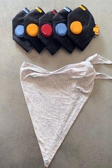 HisOutfit - Maska chusta antysmogowa z węglem 5 filtrów BETON