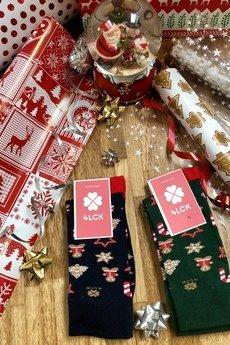 4LCK - 4LCK Skarpetki świąteczne zielone z piernikami