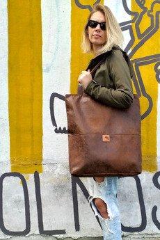 Karolina Audycka - Brązowa zamszowa torebka shopper