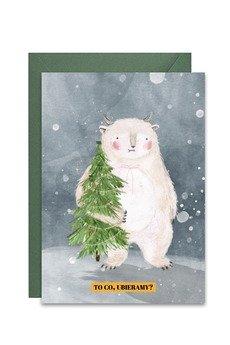 PAPERWORDS - Zimowa kartka z Yeti z choinką