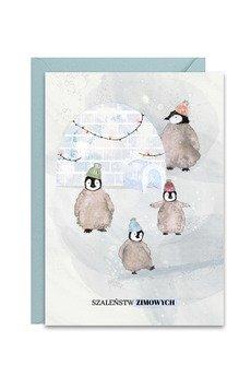 PAPERWORDS - Zimowa kartka z Pingwinami na święta