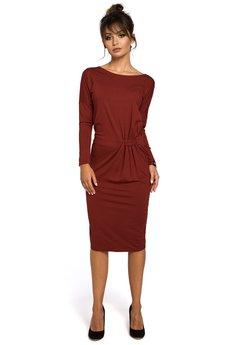 Be - B052 Ołówkowa sukienka z gumką w talii