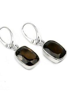 Brazi Druse Jewelry - Earrings Kwarc Dymny Szlif Prostokątny srebro