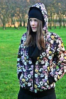 Button - Kurtka HOODIE SIMPLE UNISEX kwiaty