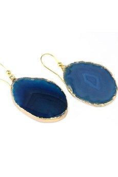 Brazi Druse Jewelry - Earrings Plastry Agatu Niebieskie złoto