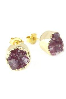 Brazi Druse Jewelry - Earrings Druzy Agatu złoto