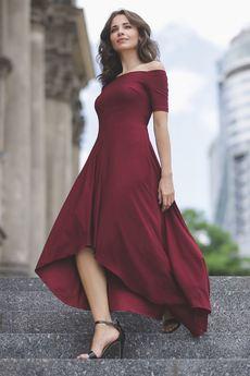 LENITIF - Sukienka K485 Bordo