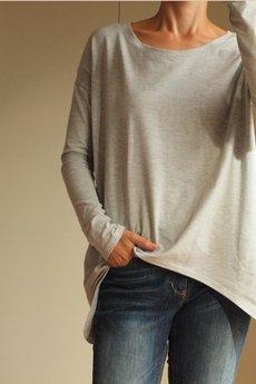 ONE MUG A DAY - Wąski rękaw bluzka szara