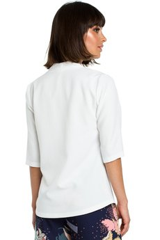 Be - B090 Gładka bluzka w serek z lnem