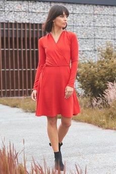Be - B092 Rozkloszowana sukienka z górą na zakładkę