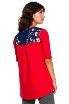 Be - B095 Bluzka ze wstawkami w kwiaty
