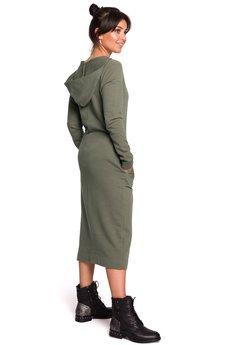 Be - B128 Sukienka maxi z kapturem