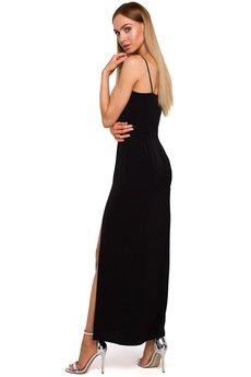 MOE - M485 Sukienka maxi na cienkich ramiączkach
