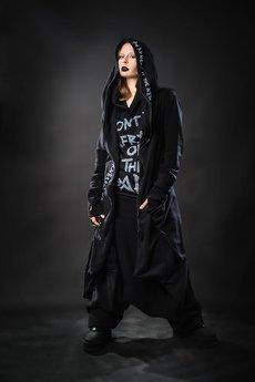 PIKIEL - Kamikiri - długa czarna bluza z suwakiem
