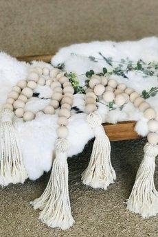WhiteOwlKnot - Girlanda z koralików drewnianych, wystrój domu