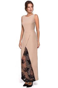 Makover - Długa sukienka wieczorowa z koronkowym dołem K012