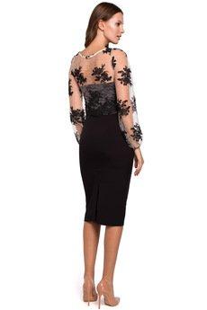 Makover - Sukienka ołówkowa z koronkową górą K013