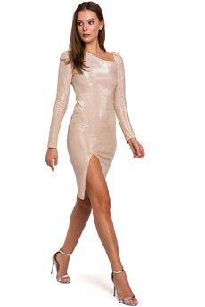 Makover - Sukienka z bufiastymi rękawami K017
