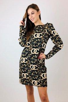 Bird - wzorzysta sukienka z bufkami na ramionach