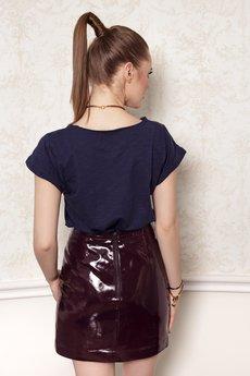 OrienteGlamour - T-shirt bawełniany Basic z kieszonką granatowy