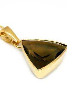Brazi Druse Jewelry - Colare Kwarc Dymny Szlif Trójkąt złoto