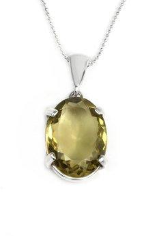 Brazi Druse Jewelry - Colare Kwarc Lemon Szlif Owalny srebro