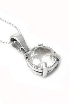 Brazi Druse Jewelry - Colare Kryształ Górski Szlif Diamentowy srebro