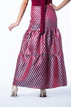 my image art - Żakardowa spódnica midi  3D CUBE