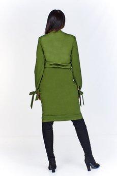 Bird - Dzianinowa sukienka midi z kieszeniami, wiązaniem w pasie i wycięciem w mankiecie