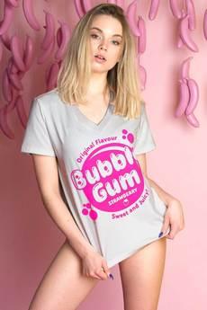 ŁAP NAS - Koszulka z dekoltem V Bubble Gum