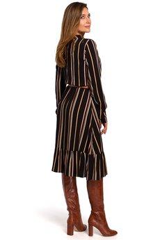 Style - Sukienka w prążek z paskiem  S182