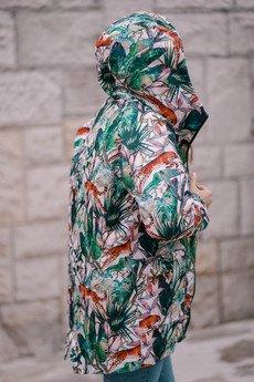 ekoszale - damska kurtka parka w gepardy z podszewką