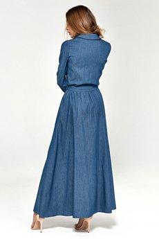 Nife - NIFE Jeansowa sukienka maxi (S93)